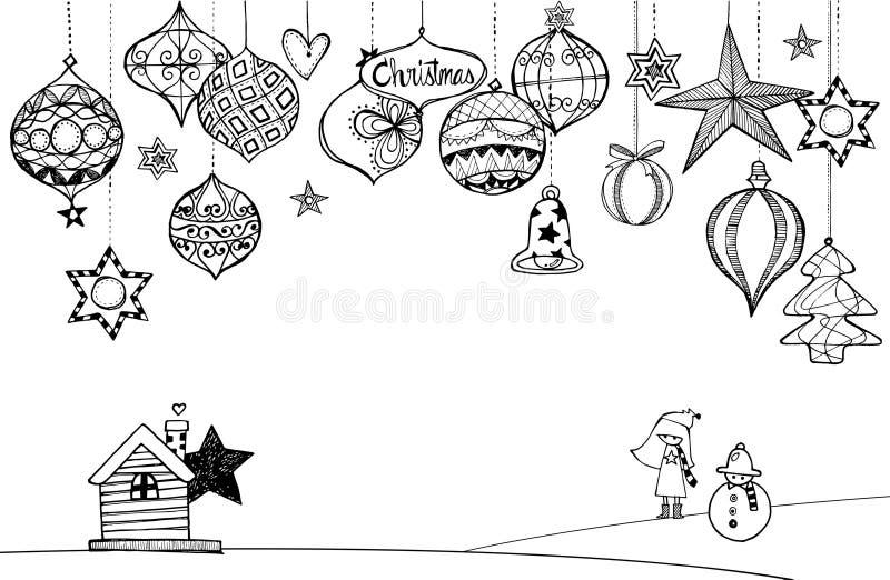 Hand getrokken Kerstmisdecoratie royalty-vrije illustratie