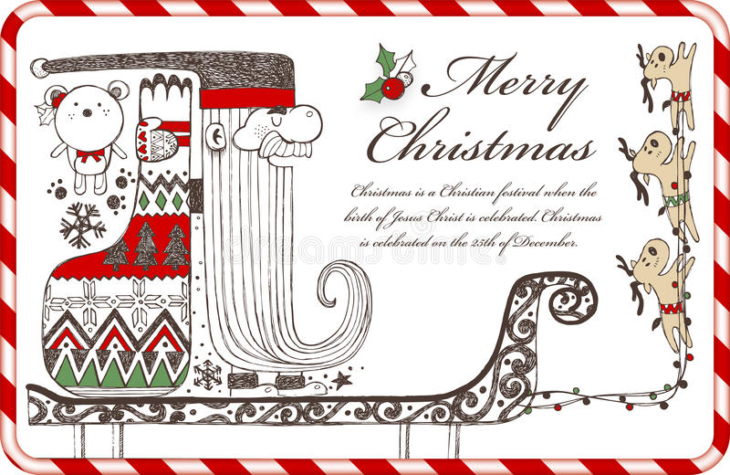 Hand getrokken Kerstmiselementen C vector illustratie