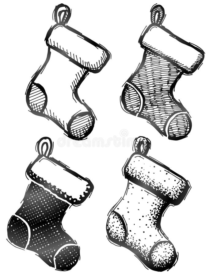 Hand getrokken Kerstmiskous stock illustratie