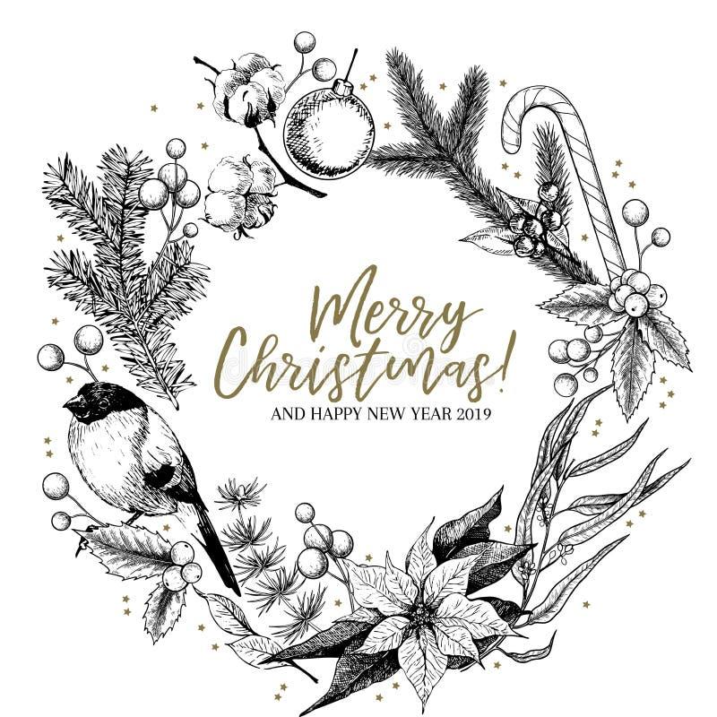 Hand getrokken Kerstmiskroon Spar, pijnboom, eucalyptus, katoen, poinsettia, goudvink, maretak, hulst Vectorgroet stock illustratie