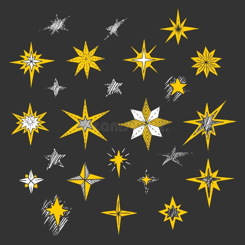 Hand getrokken Kerstmissterren en Bethlehem ster voor de winter en vakantieillustraties vector illustratie