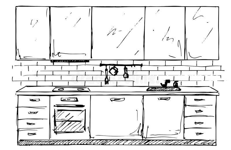 Hand getrokken keukenmeubilair Schetskeuken Vector illustratie royalty-vrije stock afbeelding