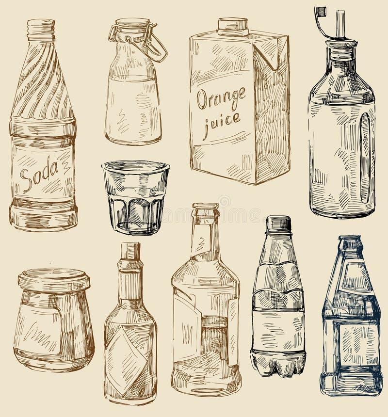 Hand getrokken keukenreeks vector illustratie