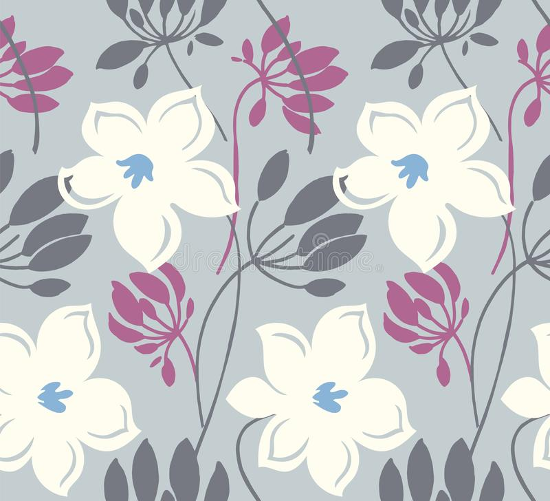 Hand getrokken kleuren vector naadloos patroon Abstracte bloemen met bladeren, schetstekening De Skandinavische bloementextuur va stock illustratie