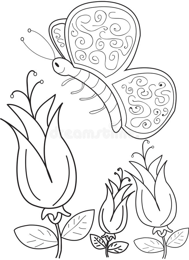 Hand getrokken kleurende pagina van een mooie vlinder vector illustratie