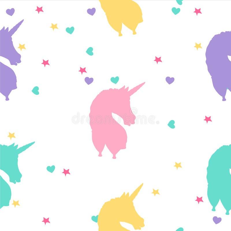 Hand getrokken kleurrijk eenhoorn naadloos patroon royalty-vrije illustratie