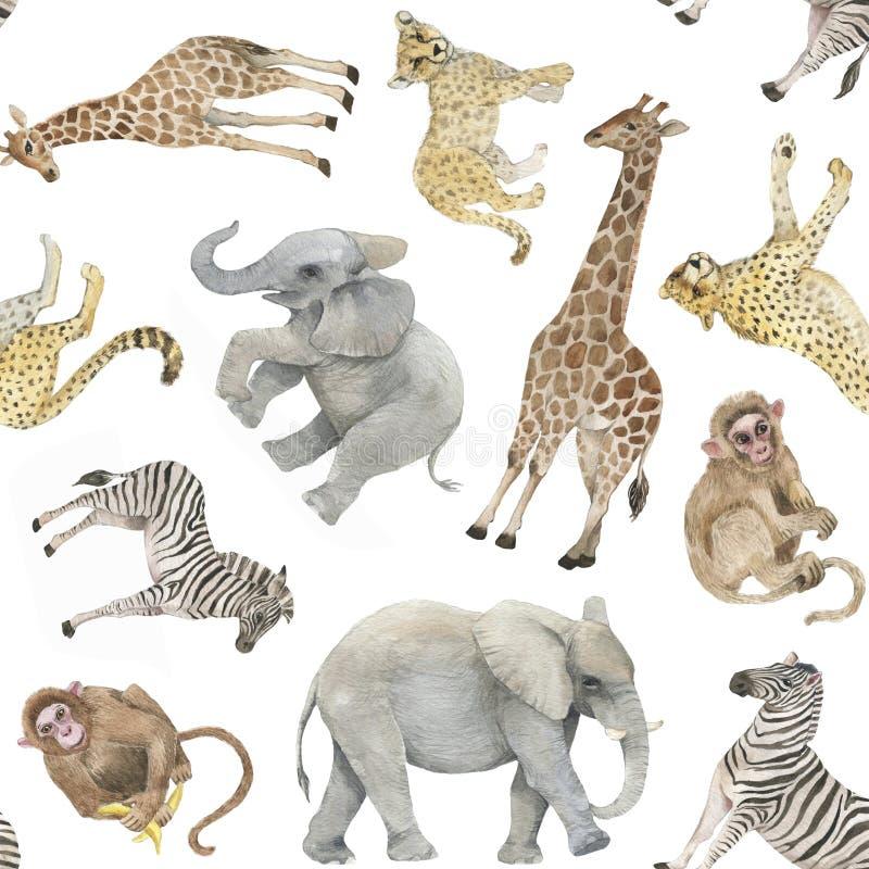 Hand getrokken kleurrijk naadloos patroon met waterverf wilde exotische dieren stock afbeeldingen
