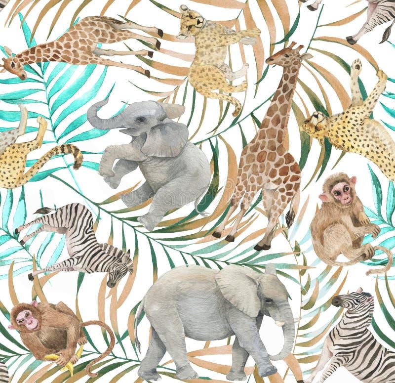Hand getrokken kleurrijk naadloos patroon met waterverf wilde exotische dieren, palmbladen en uitheemse gewassen stock fotografie