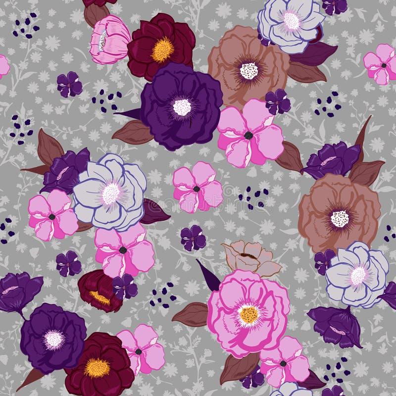 Hand getrokken kleurrijke de zomer bloeiende bloemen op lichtgrijze bloemen stock illustratie