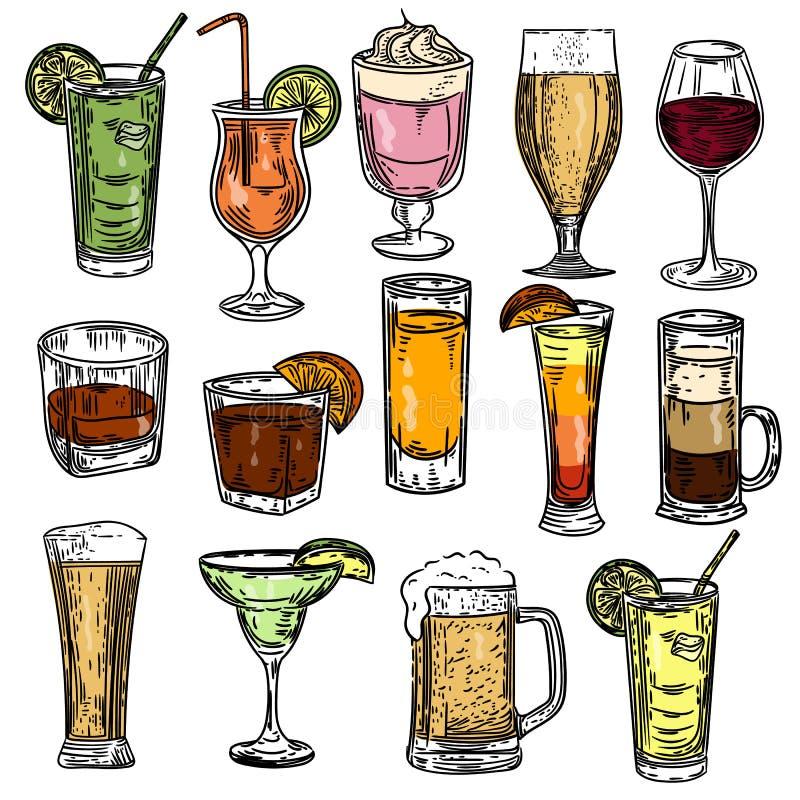 Hand getrokken kleurrijke die cocktails op witte achtergrond worden geplaatst stock illustratie