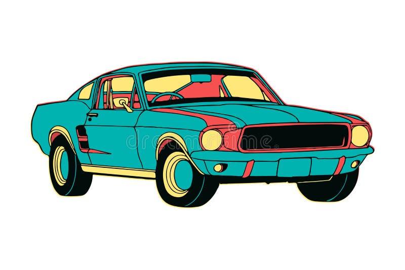 Hand Getrokken kleurrijke geïsoleerde spierauto in beeldverhaalstijl met creatieve ontwerpkleuren Vector illustratie EPS10 stock illustratie