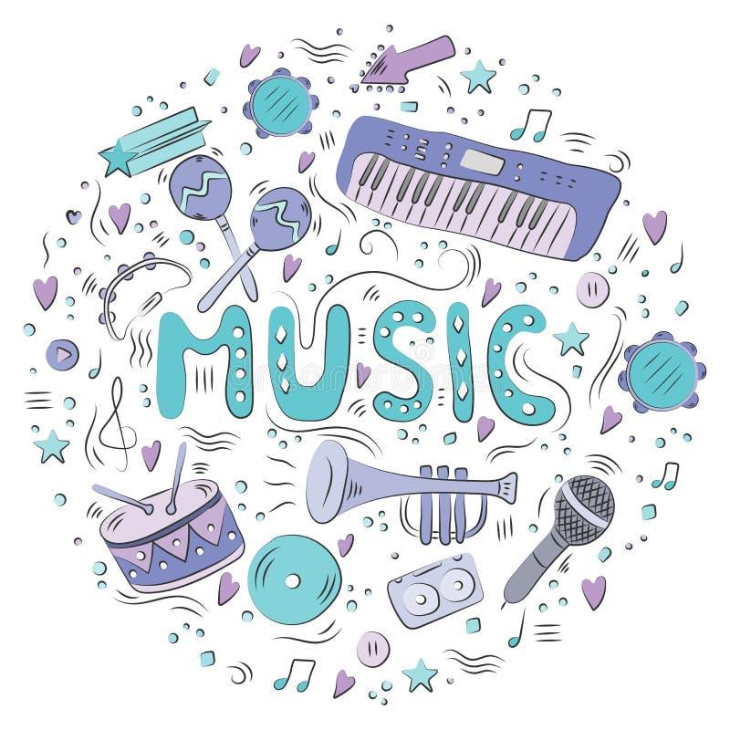Hand getrokken kleurrijke muziekachtergrond De muzikale instrumenten van de krabbel Retro muzikale apparatuur royalty-vrije illustratie