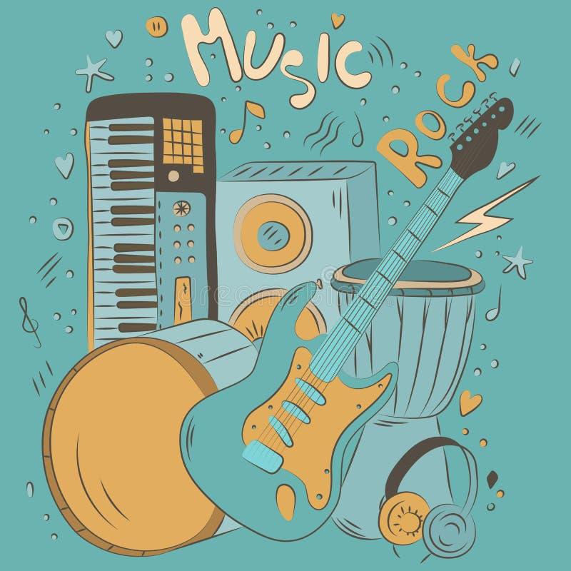 Hand getrokken kleurrijke muziekachtergrond De muzikale instrumenten van de krabbel Retro muzikale apparatuur vector illustratie
