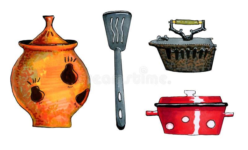 Hand getrokken kleurrijke reeks illustraties van keukentoebehoren vector illustratie