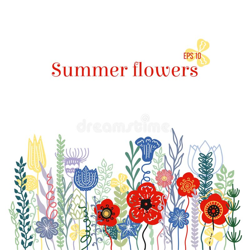 Hand getrokken kleurrijke wildflowers Bloemencontourtekening in krabbel, beeldverhaal, schetsstijl Vector illustratie stock illustratie