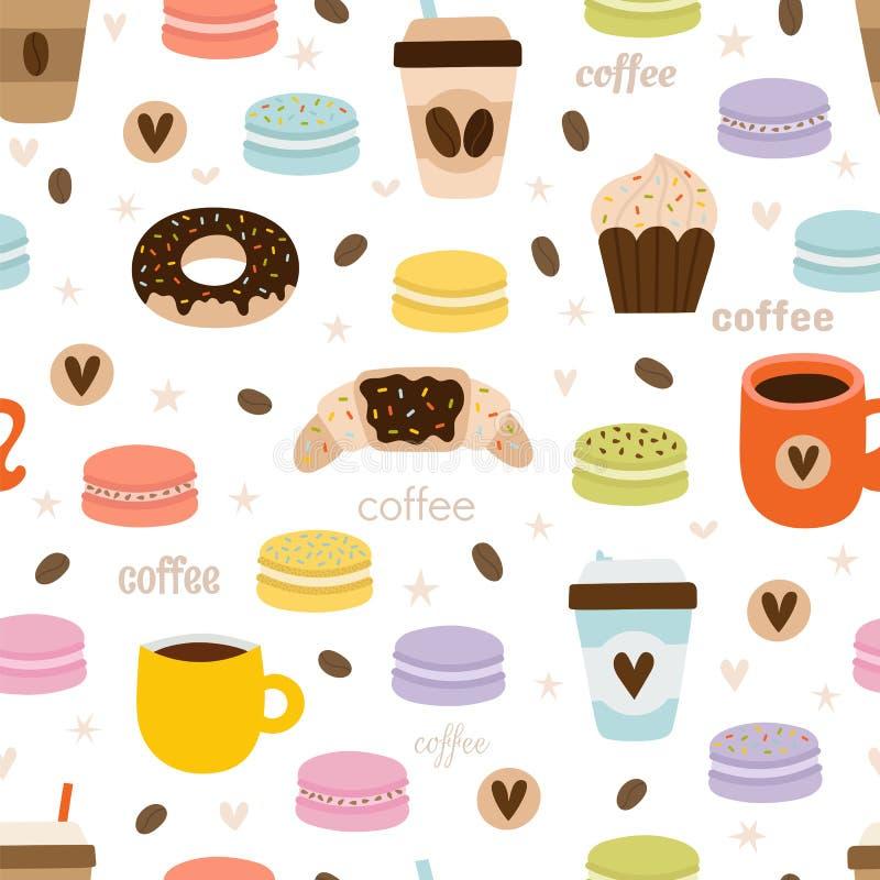 Hand getrokken koffie naadloos patroon Reeks de symbolen, de voorwerpen en elementen van de koffiepartij Leuke en grappige achter stock illustratie