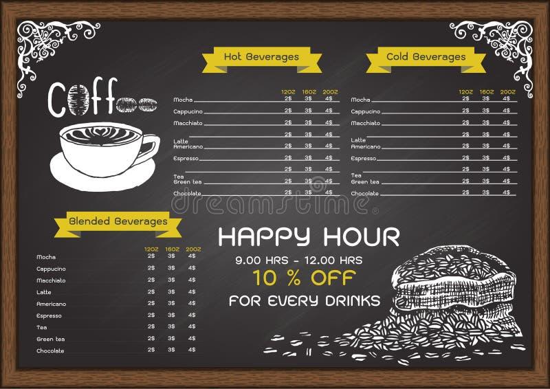 Hand getrokken koffiemenu op bord vector illustratie