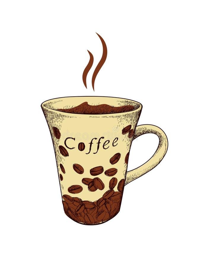 Hand getrokken koffiemok stock afbeelding
