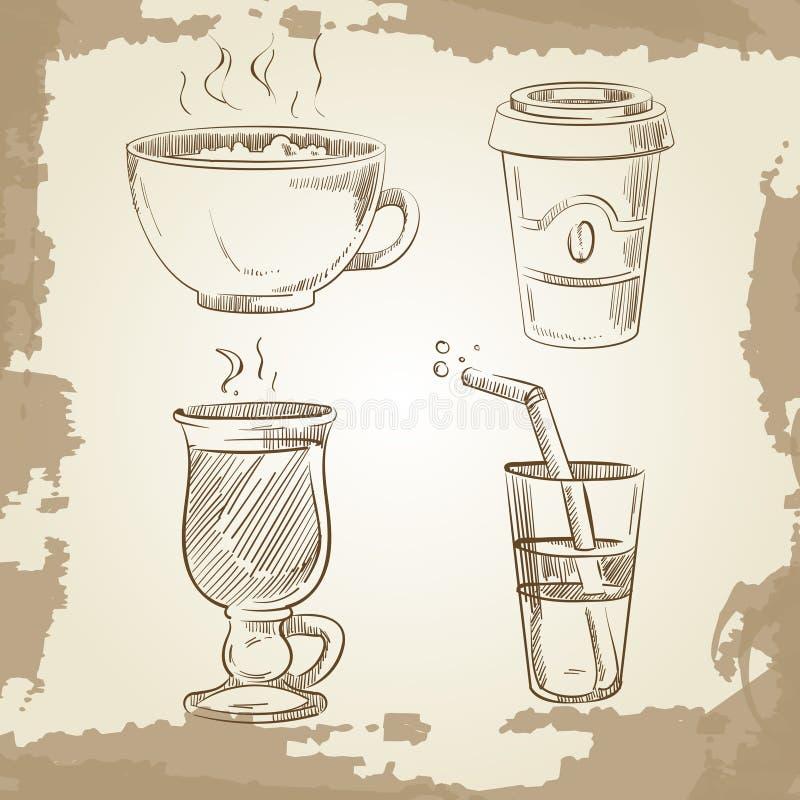 Hand getrokken koffiethee en limonade op uitstekende achtergrond stock illustratie