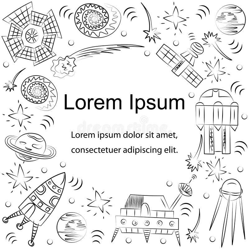 Hand Getrokken Krabbel Spaceships, Raketten, Dalende Sterren, Planeten en Kometen Malplaatje met Tekst in het Centrum De stijl va vector illustratie