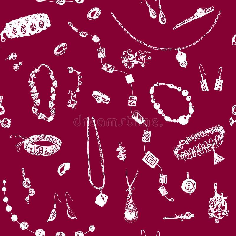 Hand getrokken krabbeljuwelen, juweel naadloos patroon Witte voorwerpen, rode, robijnrode achtergrond Ontwerpillusrtration voor a royalty-vrije illustratie