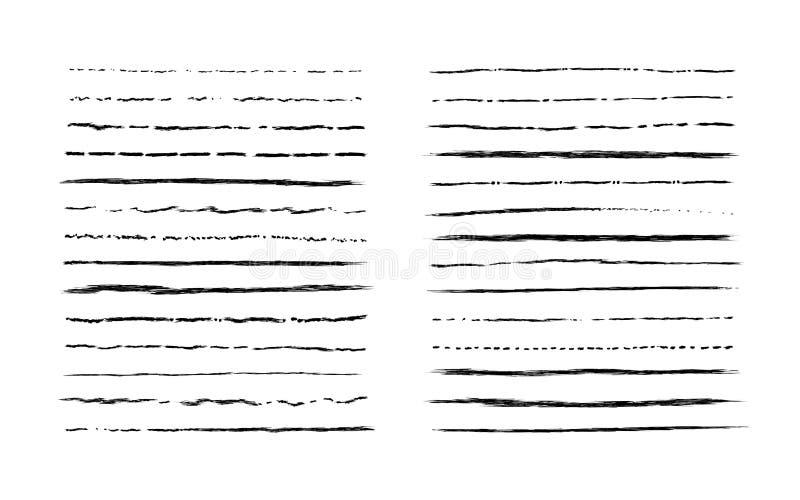 Hand getrokken krabbellijnen De wijnoogst onderstreept grenselementen, de reeks van het beeldverhaalkader, potlood grunge decorat stock illustratie
