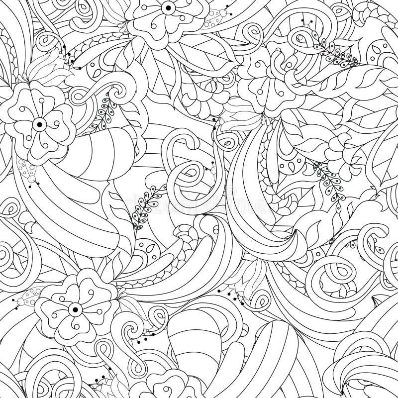 Hand getrokken krabbelpatroon in vector Zentangleachtergrond Naadloze abstracte textuur Etnisch krabbelontwerp met hennaornament royalty-vrije illustratie