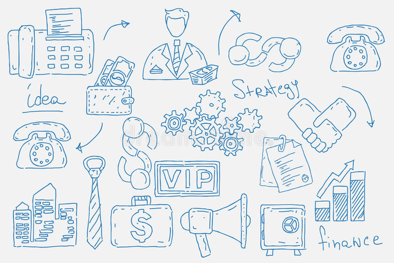 Hand getrokken krabbelsachtergrond met bedrijfspictogrammen stock illustratie