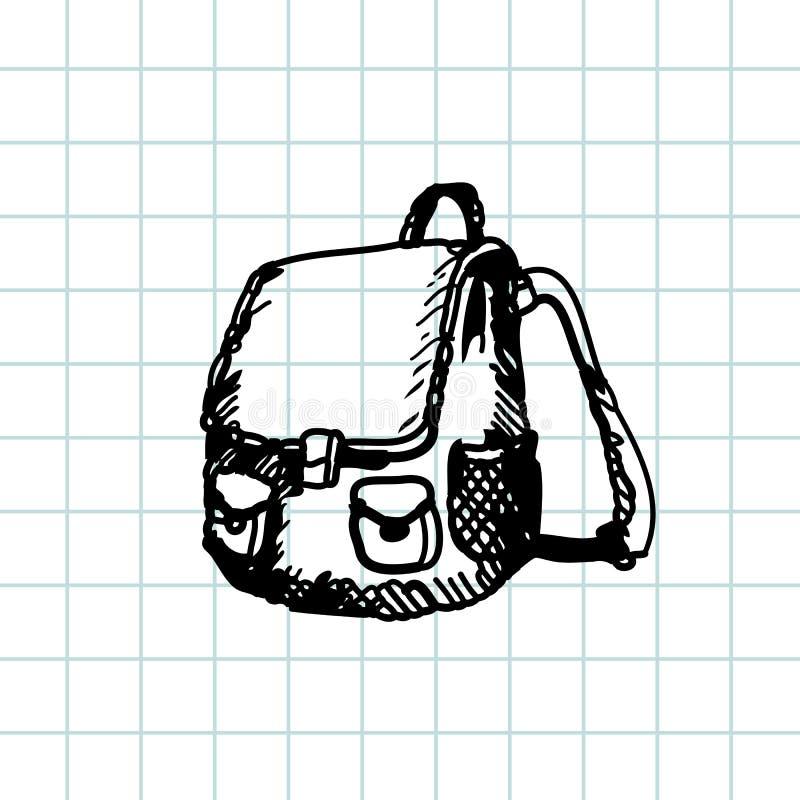 Hand getrokken krabbelschooltas Zwart penoverzicht, notitieboekjeachtergrond Leerling, student, school, onderwijs stock illustratie