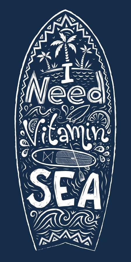 Hand getrokken krabbelstijl vector het surfen raadsvorm met het van letters voorzien van binnenkant - I-het Overzees van de Behoe royalty-vrije illustratie