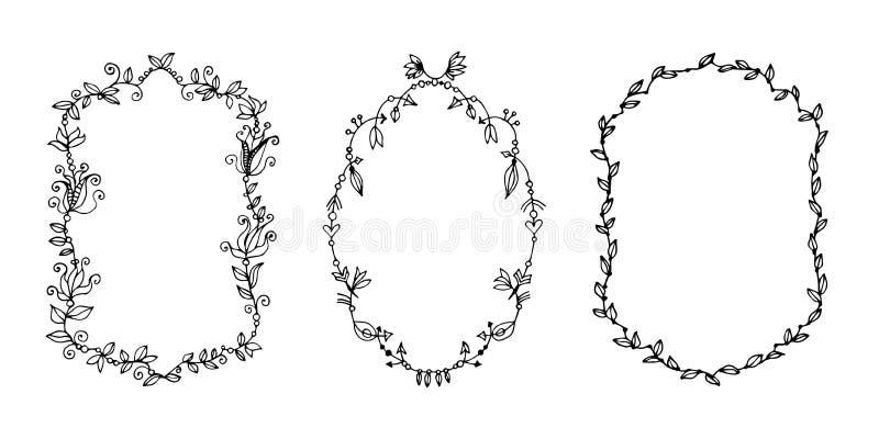 Hand getrokken krabbelvector laurels en kronen stock illustratie