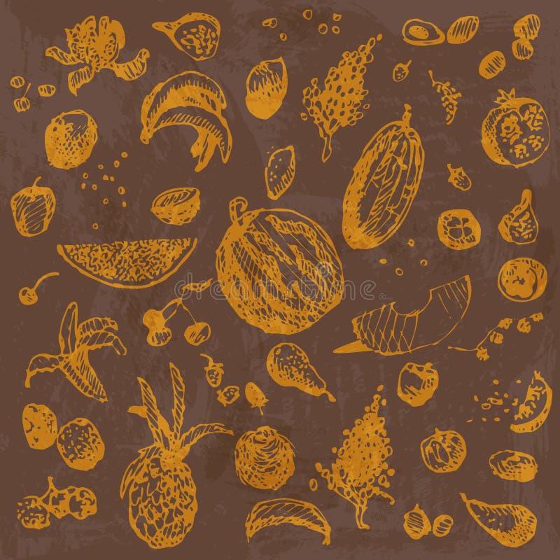 Hand getrokken krabbelvoedsel, vruchten en bessen Oranje voorwerpen, bruine waterverf naadloze achtergrond vector illustratie