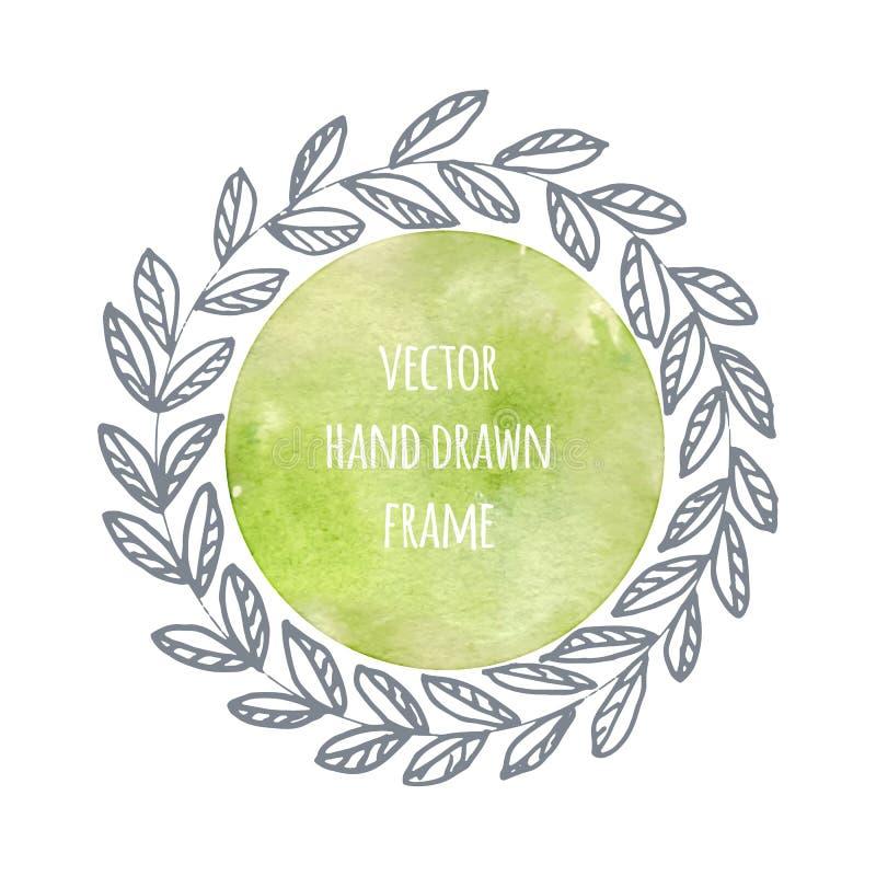Hand getrokken kroonreeks die in vector wordt gemaakt Bladerenslingers Romantische bloemenontwerpelementen met waterverfachtergro stock illustratie