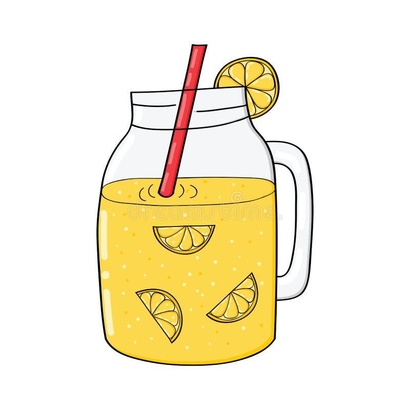 Hand getrokken kruik met limonade vector illustratie