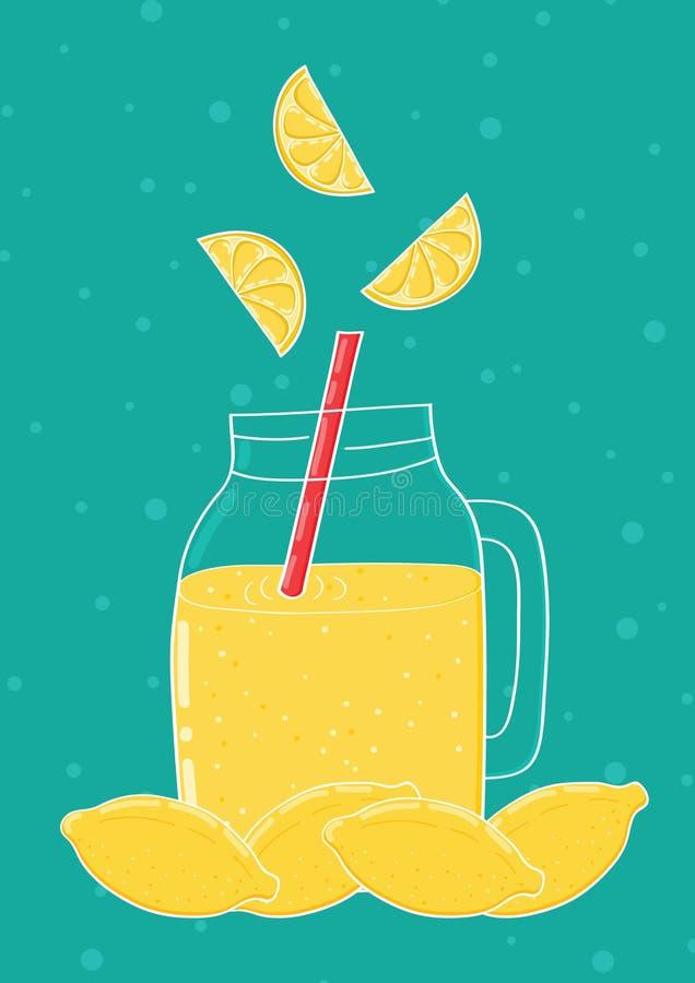Hand getrokken kruik met limonade stock illustratie