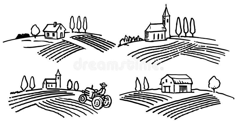 Hand getrokken landbouwlandschappen royalty-vrije illustratie