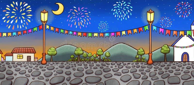 Hand getrokken landschap van een feestelijk dorp bij nacht, met vuurwerk op achtergrond vector illustratie