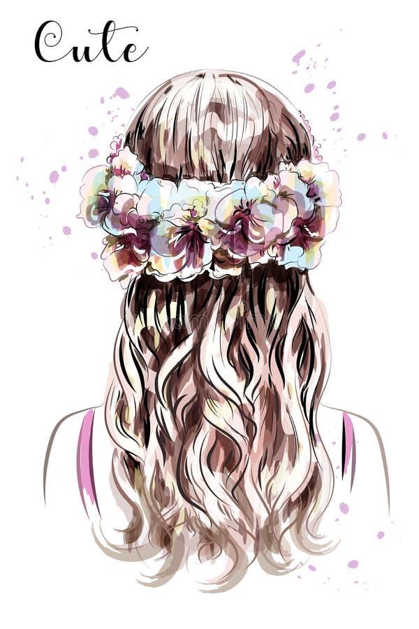 Hand getrokken lang haarmeisje in bloemkroon Bruin Haar Leuk krullend kapsel schets royalty-vrije illustratie