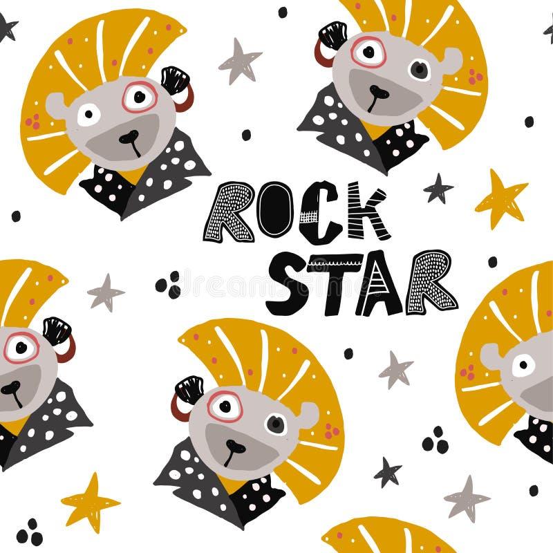 Hand getrokken leeuw in punk rockstijl Kinderachtig patroon voor manier, textiel of stof Leuke illustratie voor jonge geitjes vector illustratie