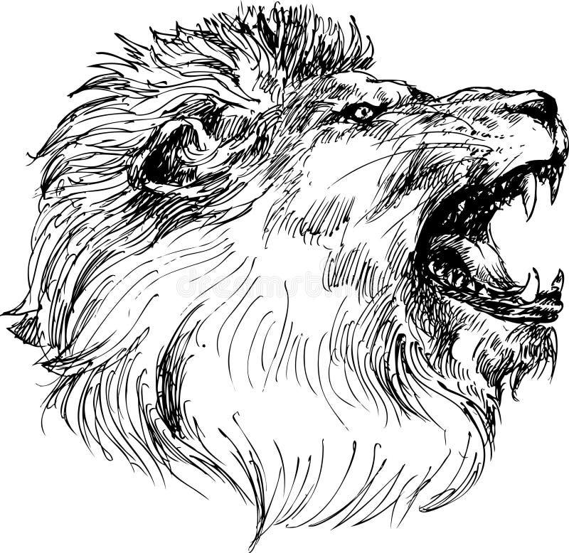 Hand getrokken leeuwhoofd stock illustratie