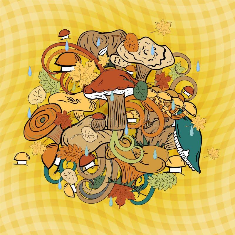 Hand Getrokken Leuk Eetbaar die Paddestoelen, Autumn Leaves en Dalingen in een Cirkel worden geschikt Vlakke stijl stock illustratie