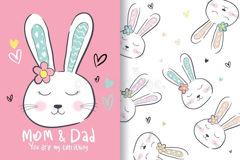 Hand getrokken leuk konijnhoofd, met editable patronen vector illustratie