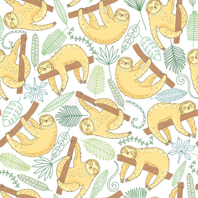 Hand getrokken leuk luiaard naadloos patroon royalty-vrije illustratie