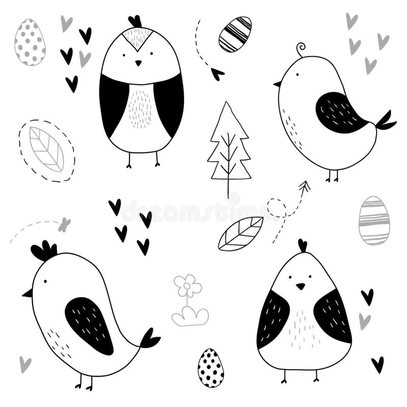 Hand getrokken leuk vogelpatroon royalty-vrije illustratie