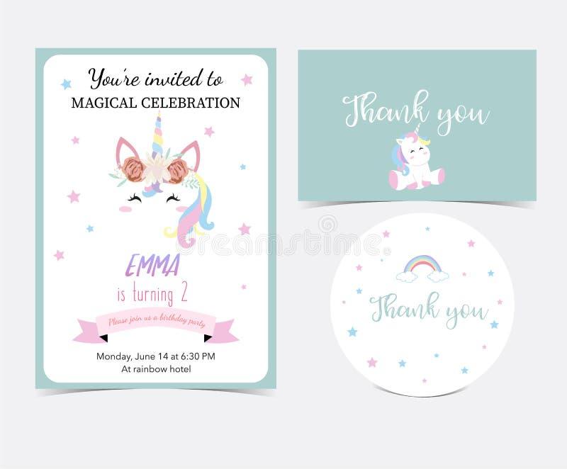 Hand getrokken leuke kaart met eenhoorn, hoofd, regenboog, ster en lint T stock illustratie