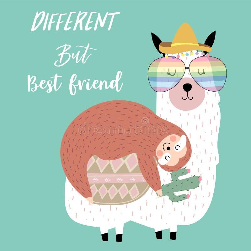 Hand getrokken leuke kaart met luiaard, vriend, watermeloen, boom, lama, bed, maan en vliegtuig Verschillende maar beste vriend vector illustratie