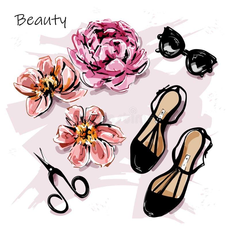 Hand getrokken leuke reeks met bloemen, zonnebril, schoenen en schaar Mooie vrouwelijke toebehoren schets stock illustratie
