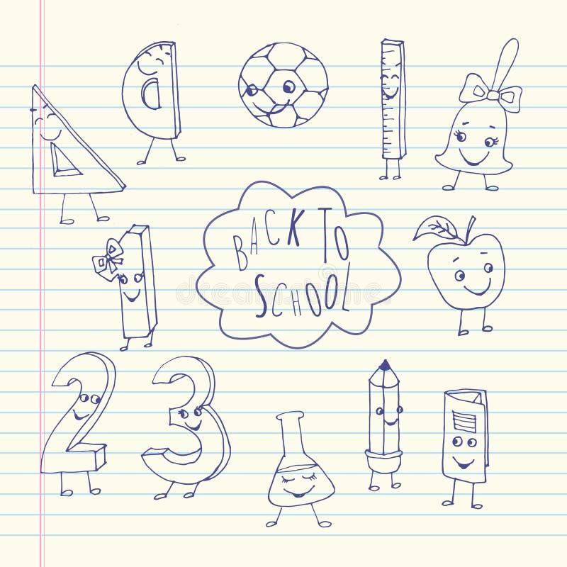 Hand getrokken leuke schoolkarakters op een blad van oefenboek royalty-vrije illustratie