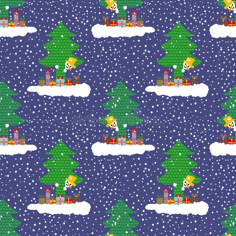 Hand getrokken leuke sneeuwman op een wolk met giften die uit van achter een Kerstboom gluren Naadloos vectorpatroon op blauw royalty-vrije illustratie