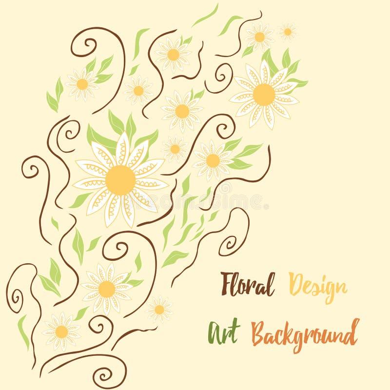 Hand getrokken leuke vliegende kamillebloemen, werveling en kruidenkaart De bloemenachtergrond van de lente royalty-vrije illustratie